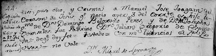 Bautismo Manuel Belgrano