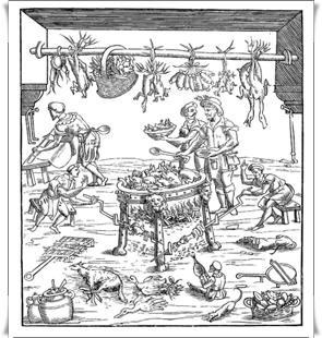 Interno di una cucina italiana, dal libro di cucina di Cristoforo da Messisbugo: Banchetti composizioni di vivande e apparecchio generale, 1549